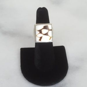 Sterling silver cocktail ring peanut wood stone